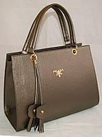 Каркасная женская сумка Prada (Прада) из гладкого кожзама коричневого цвета