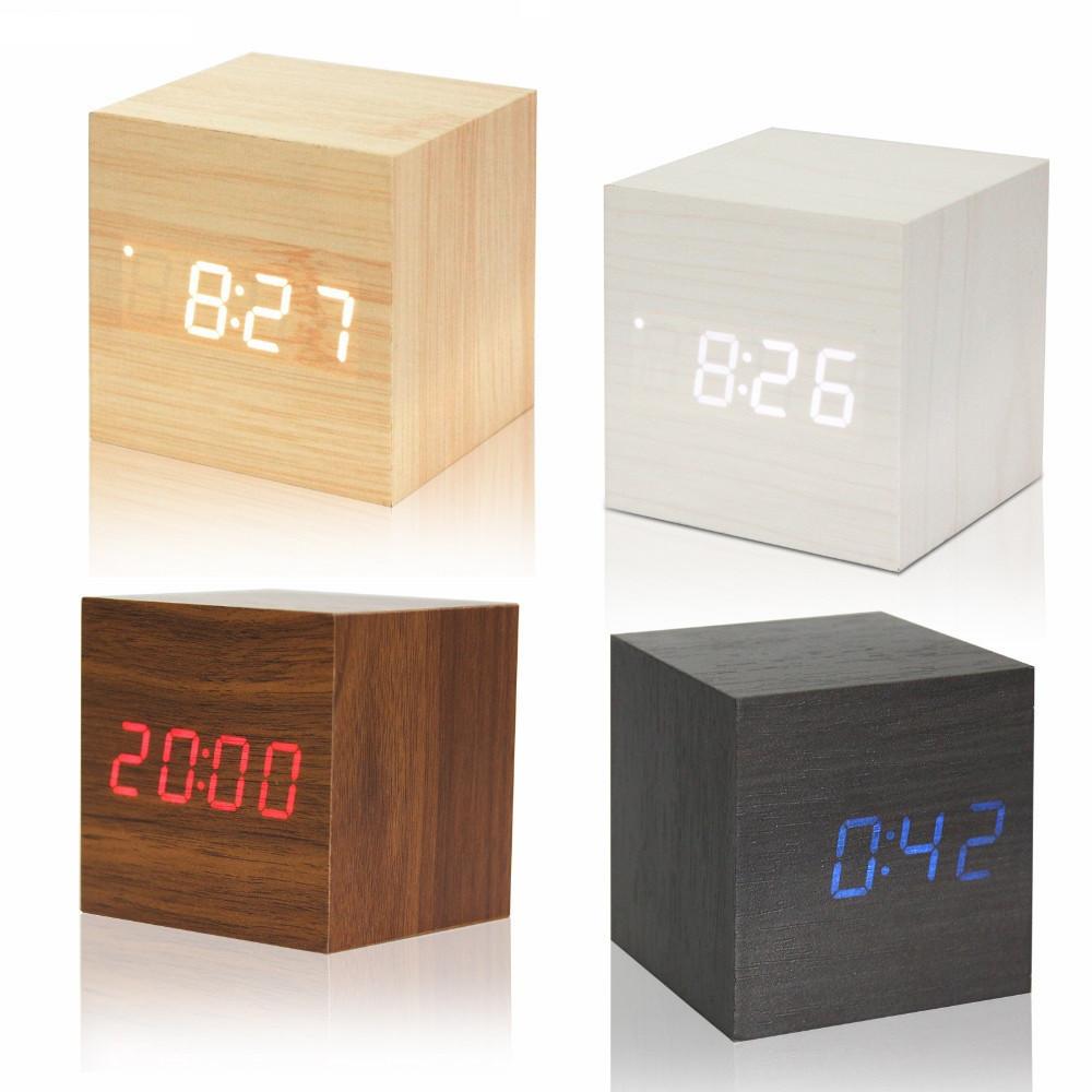 """Цифровые светодиодные деревянные часы """"КУБ"""""""