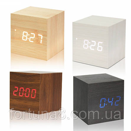 """Цифровые светодиодные деревянные часы """"КУБ"""", фото 2"""