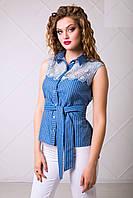 Элегантная Летняя Рубашка без Рукавов с Кружевом XS-XL