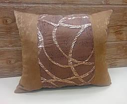 "Подушка  ""Респект"" коричневая, размер 40х40см , фото 3"