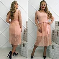Нежное женское летнее  платье-двойка дайвинг, сетка гофре  +цвета