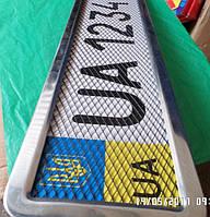 Рамка под номер нержавейка с сеткой, фото 1