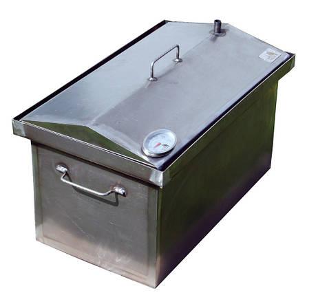 Коптильня черный металл 400х300х310 домик с термометром, фото 2