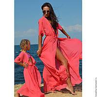 Женская-детская Длинная Пляжная Туника  FAMILY LOOK Мама-Дочка