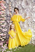 Женское Длинное Шифоновое Платье FAMILY LOOK Мама-Дочь, фото 1
