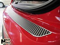 Накладка на задний бампер Nissan QASHQAI +2 2008- 3D карбон черного цвета из нержавеющей стали