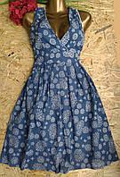 Платье из набивной ткани  B112 синий 46-50р