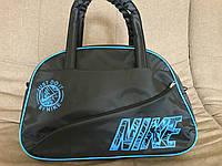 Сумка женская спортивная Nike Найк МВ-3 (черный+голубой цвет)