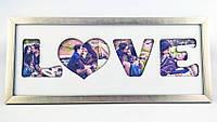 """Оригинальные коллаж для фото """"Love"""" 50х20см (2 вида) дерево"""