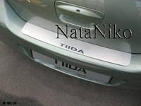 Накладка на задний бампер Nissan TIIDA 4D 2007- из нержавеющей стали
