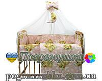 Постельное белье ( Комплект из 9 предметов) Мишки спят - Розовый цвет