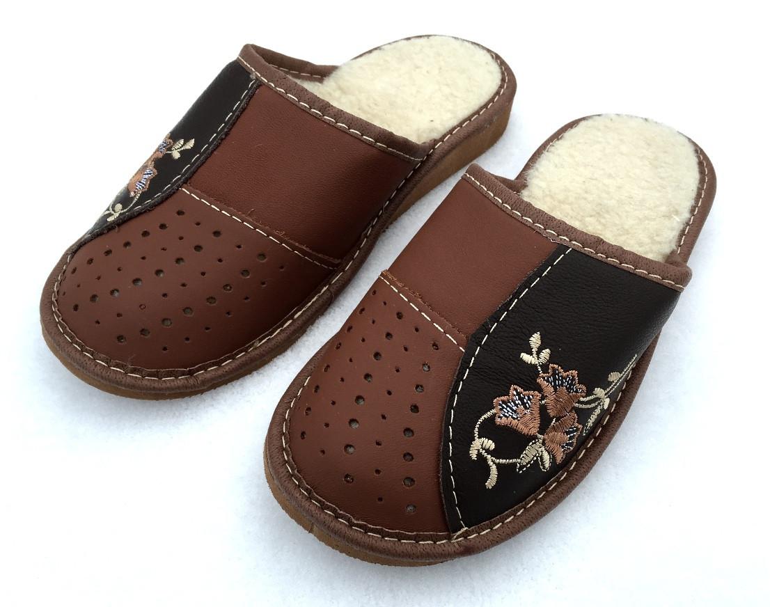 Тапочки женские кожаные, на овчине
