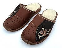 Тапочки женские кожаные, на овчине, фото 1