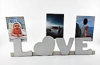"""Оригинальная подставка - держатель фотографий """"Love"""" 50х12 см"""