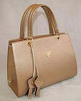 Каркасная женская сумка Prada (Прада) из гладкого кожзама золотистого цвета