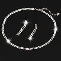 Комплект ювелирной бижутерии (ожерелье и серьги) посеребрение 3538