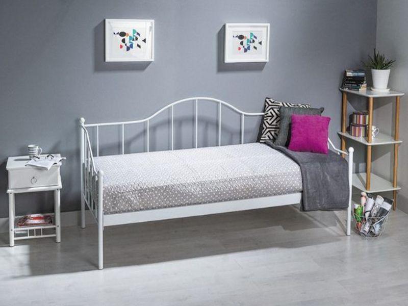 Металева ліжко-диван біла Signal Dover 90х200см для підлітка в спальню
