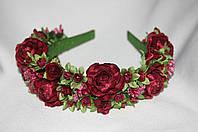 Веночек для волос Ганна розы бордо