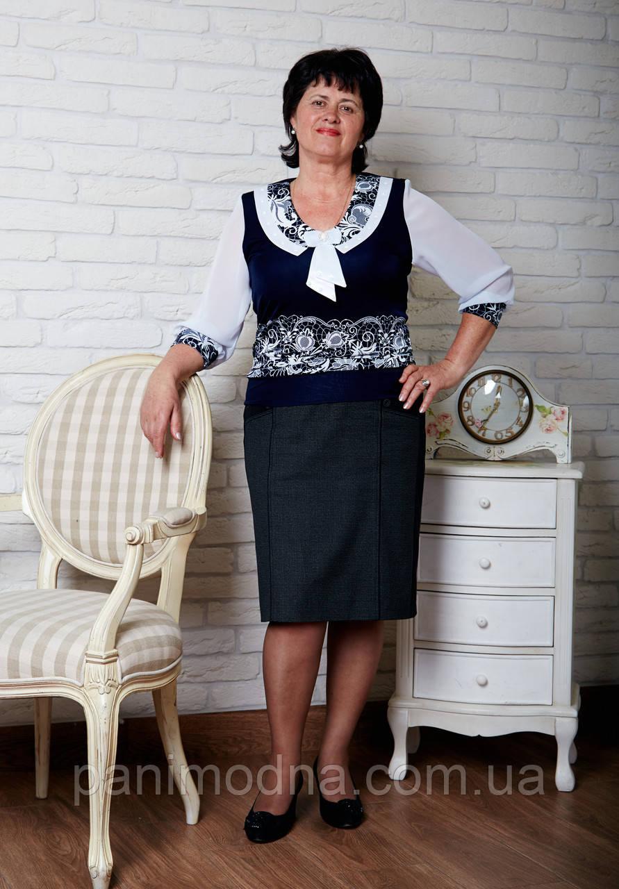 """Блузочка женская летняя из микромасла больших размеров """"ЖЕМЧУГ"""". От производителя - швейная фабрика."""