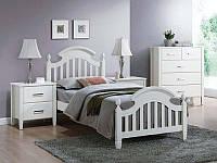 Белая деревянная односпальная кровать Signal Lizbona 90x200см с ортопедическим каркасом в классическом стиле