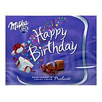 Шоколадные конфеты Milka Happy Birthday с вишневым джемом, 110 грамм