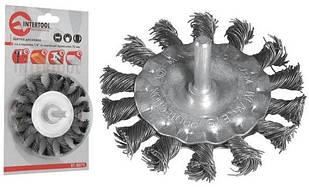 """Щітка дискова зі стрижнем 1/4"""" з плетеного дроту 100 мм /для дрилі, блістер/"""