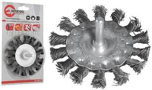 """Щетка дисковая со стержнем 1/4"""" из плетёной проволоки 75 мм  /для дрели, блистер/"""