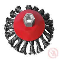 Щетка конусная из плетёной проволоки 115 мм, М14 /для болгар., конус/