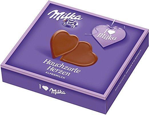 Шоколадні цукерки у коробці Milka Hauchzarte Herzen Alpenmilch у формі сердечок, 130 гр.