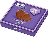 Шоколадные конфеты в коробке Milka Hauchzarte Herzen Alpenmilch в форме сердечек, 130 гр.