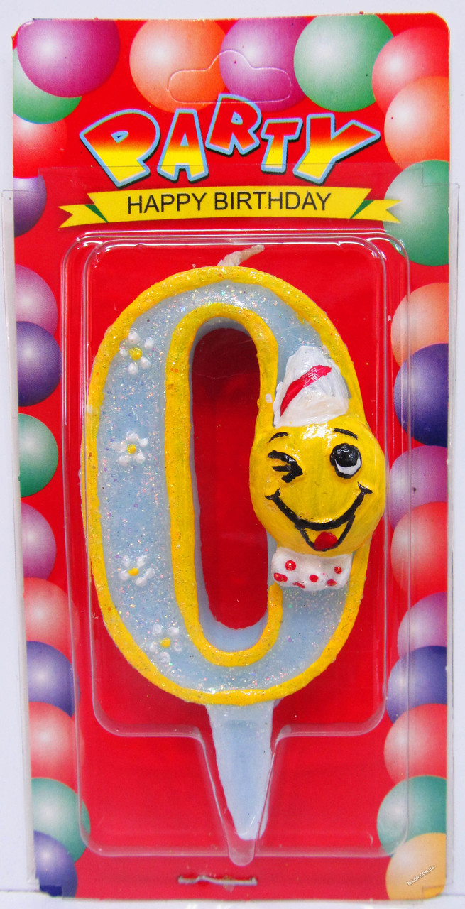 """Свеча - цифра """"0"""" для торта смайлик голубой"""