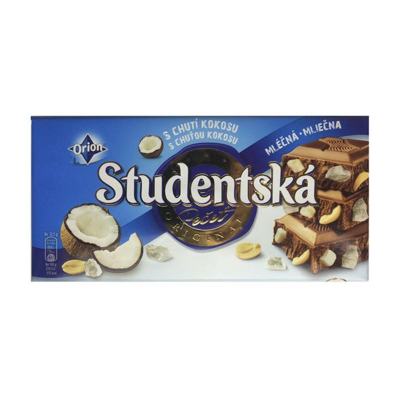 Молочный шоколад Studentska с кокосом, 187 грамм