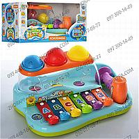 JT Игра 9199 - ксилофон, логика, с молоточком, шариками, музыкальный инструмент для малышей, в коробке