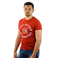 Стильная мужская футболка Tommy Hilfiger Denim (Реплика) с коротким рукавом, Красная