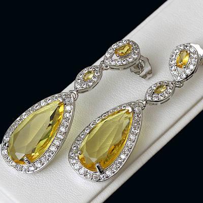 009-0157 - Серьги с золотисто-жёлтыми и прозрачными фианитами родий