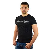 Стильная мужская футболка Armani Jeans (Реплика) с коротким рукавом, Черная