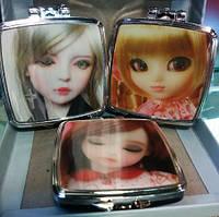 Косметическое зеркало детское, голографическое( мигающие девочки) двойное