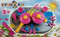 Пластмассовая детская плита с посудой,04-410 Киндервей