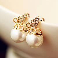 Жемчужные сережки с горным хрусталем Бабочки, цвет - золото
