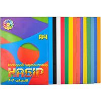"""Кольоровий картон+кольоровий папір """"Всі кольори веселки"""" А4 7+7 Тетрада"""