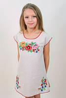 Вышитое льняное платье-туника с цветочной вышивкой Лизочка