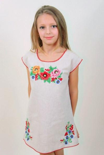 4c98ac8c7e4 Вышитое льняное платье-туника с цветочной вышивкой Лизочка -  Интернет-магазин Buyself.com