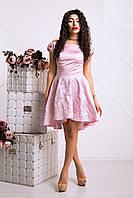 Романтичное Платье на Выпускной с Пышной Юбкой Розовое XS-L