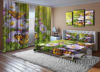 """ФотоКомплект """"Бабочки и цветы"""" Шторы (2,50*1,60), Покрывало  (2,0*1,50)"""