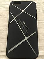 Чехол силиконовый Nillkin iPhone 6/6S matte black-silver+упаковка, фото 1