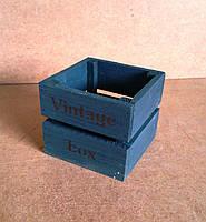 Ящик деревянный под цветы (кашпо), графитовый, 12х12х9 см , фото 1