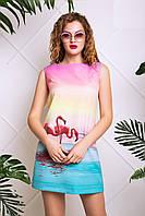 Летнее Платье Трапеция с Принтом Фламинго XS-XL