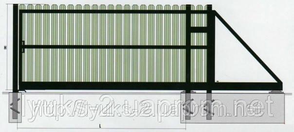 Ворота откатные из металлического штакетника