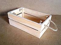Ящик деревянный с ручками под цветы (кашпо), некрашенный, 20х13х10 см